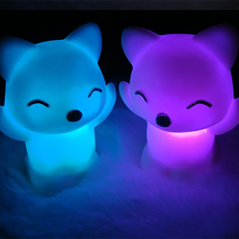 Hot Tuscom 7 Changing LED Lovely Fox Shape Night Light,4.8X 5X 7cm for Home Party Decoration (White)