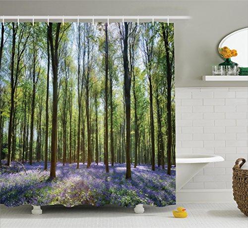 Woodland Decor Shower Curtain Set By Ambesonne, Bluebells...