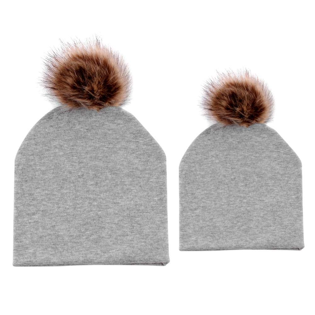 Aediea 2pcs/Set Newborn Baby Mom Dad Family Matching Hat Beanie Pompon Decor Caps