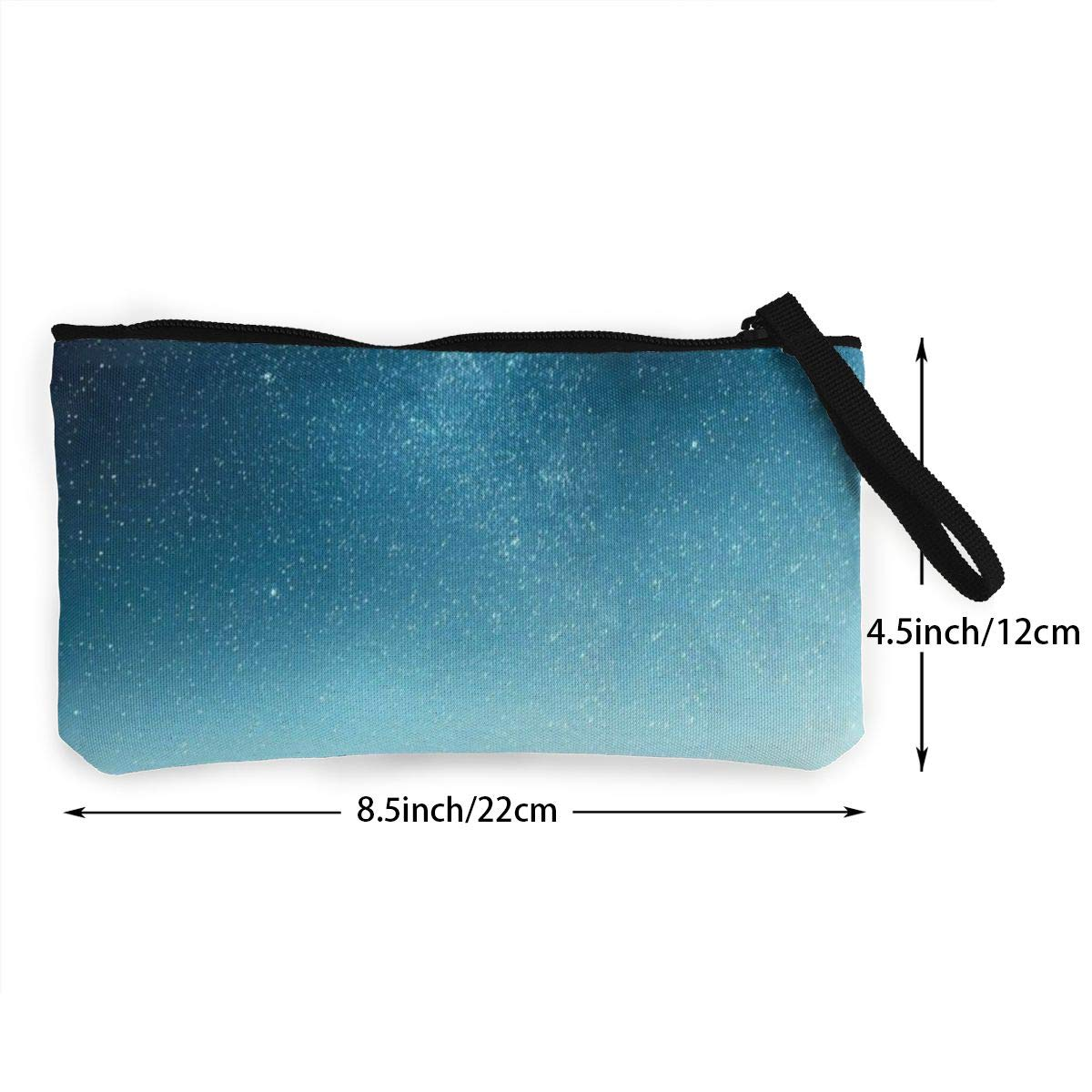 Make Up Bag,Cellphone Bag With Handle Galactic Starry Sky Zipper Canvas Coin Purse Wallet