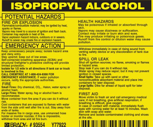 Brady 93554, Hazardous Material Label:Dot 5800.4-1987, 3 3/4 Height x 4 1/2 Width, Black on Yellow, Legend Isopropyl Alcohol (25 per (Brady Dot Hazardous Material)