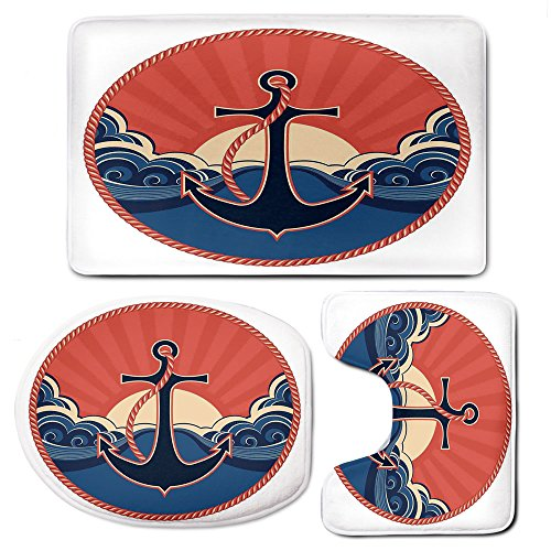 3 Piece Bath Mat Rug Set,Anchor-Decor,Bathroom Non-Slip Floor Mat,Navy-Label-with-Robe-and-Sea-Waves-at-Sunset-Anchor-Retro-Sailing-Aquatic-Life-Icons,Pedestal Rug + Lid Toilet Cover + Bath - Chenille Robe Soft