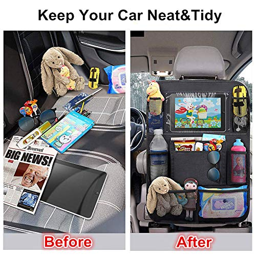 Didcant Car Backseat Organizer with Touch Screen Kick Mat SUV Car Seat Back Protectors Holder with Storage Pockets, Great Travel Accessories Baby Kids Toddlers Toys Bottle Drink (Black2-1 Pack)