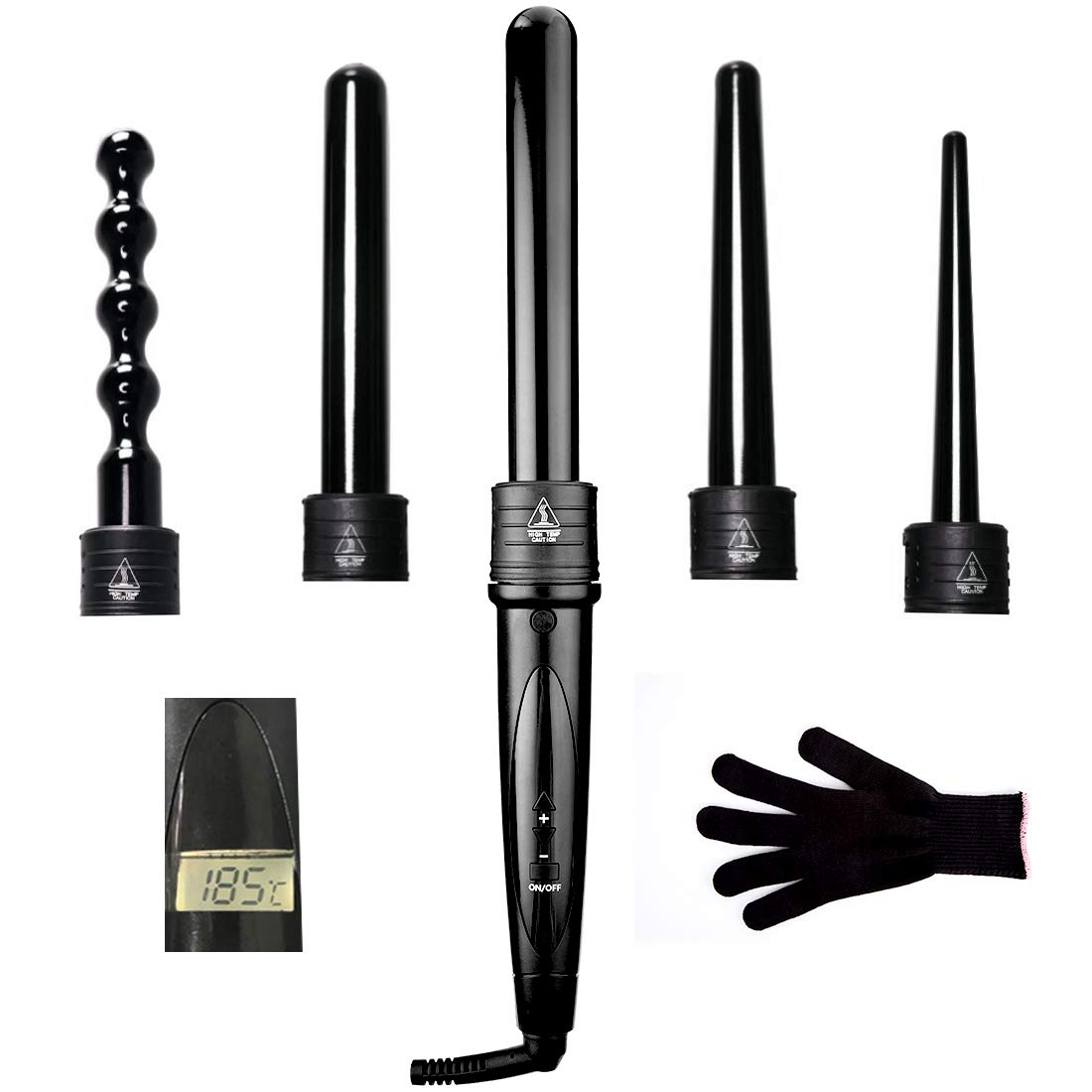 Curling Wand 5 in 1, Professional Curling Irons Tourmaline Ceramic Set with 5 Interchangeable Barrels Heat Protective Glove, Dual Voltage LCD Digital Display 0.35-1.25 Inch Hair Curlers