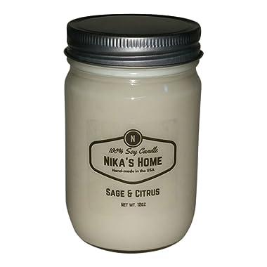 Nika's Home Sage & Citrus 12oz Mason Soy Candle
