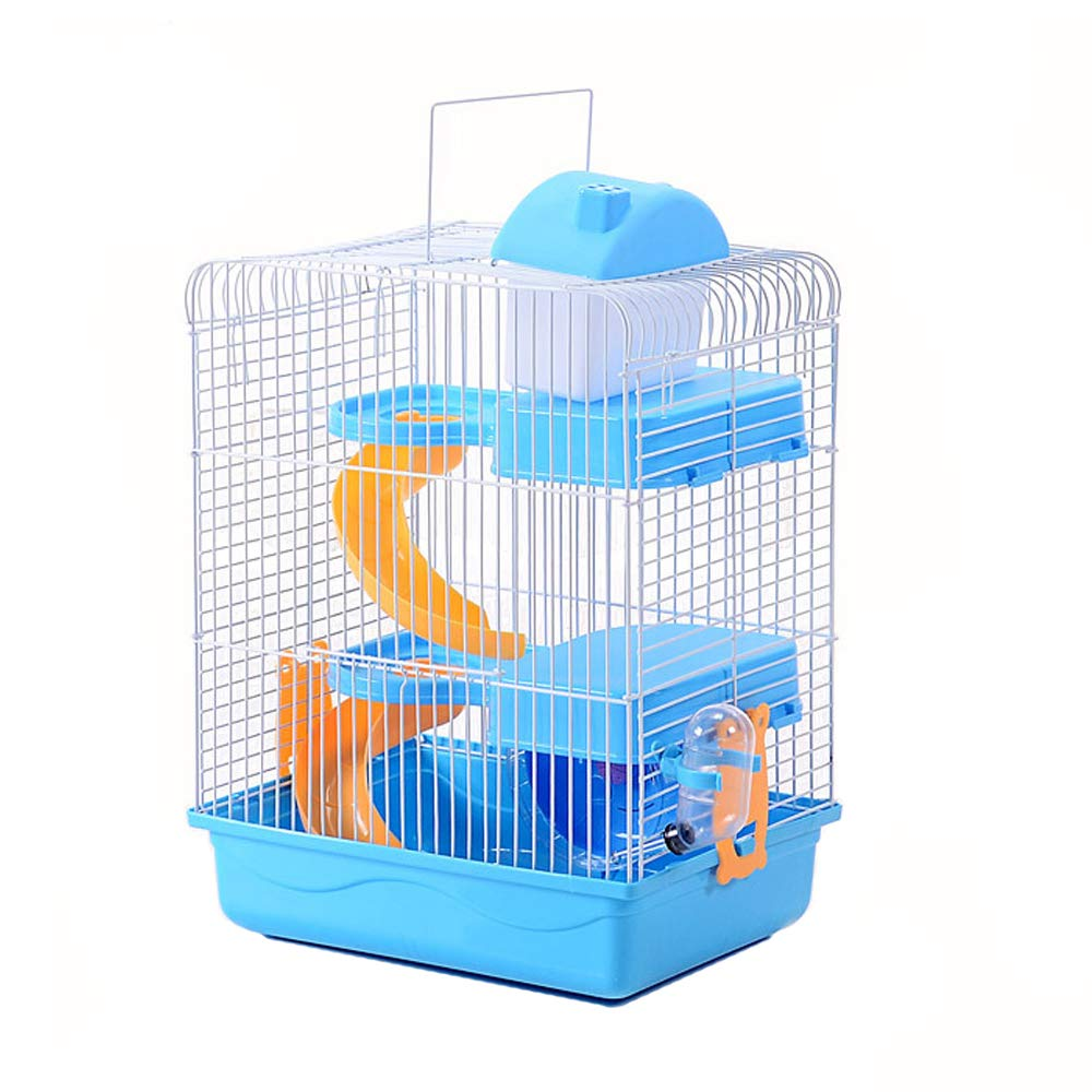 Petzilla Hamster Travel Cage, Portable Carrier for Small Animals (3-Tier, Blue)