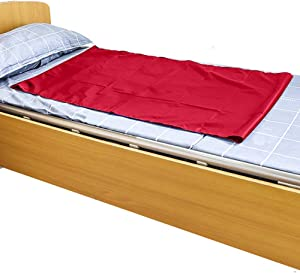 HNYG Reusable Flat Slide Sheet for Patient Transfer, Turning, and Repositioning in Beds, Hospitals and Home Care, Sliding Draw Sheets to Assist Moving Elderly and Disabled (Red, 130x70 cm)
