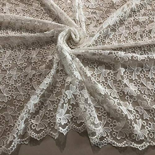 12 voile   L Lace Crafts  2Yard Nigerian Lace Fabrics For Wedding Dress Off White African Cord Lace Fabrics High Quality Lace Mesh Cotton Material  (color  10 mesh, Size  L)