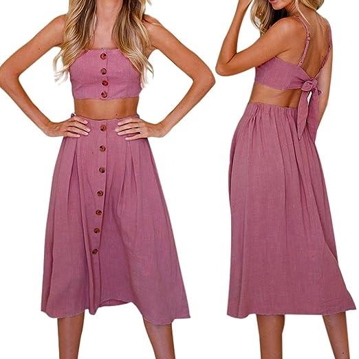 91a22b2ff1 Howstar Women's Sexy Two Pieces Skirt Set Buttons Halter Tops Dress Solid Summer  Beach Party Dresses