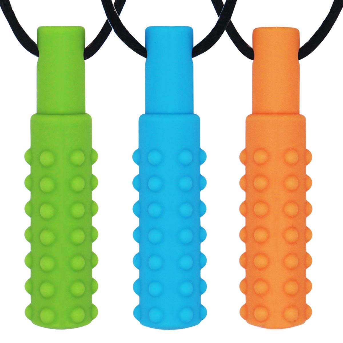 Sensory Chew Necklace (3 Pack) - Sensory Oral Motor Aids Teether Toys for Autism, ADHD, Baby Nursing or Special Needs- Reduces Chewing Biting Fidgeting for Kids Adult Chewers
