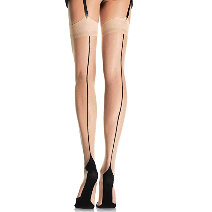 2f6f3ebb919 Leg Avenue Women s Sheer Two Tone Cuban Heel Stocking with Back Seam ...