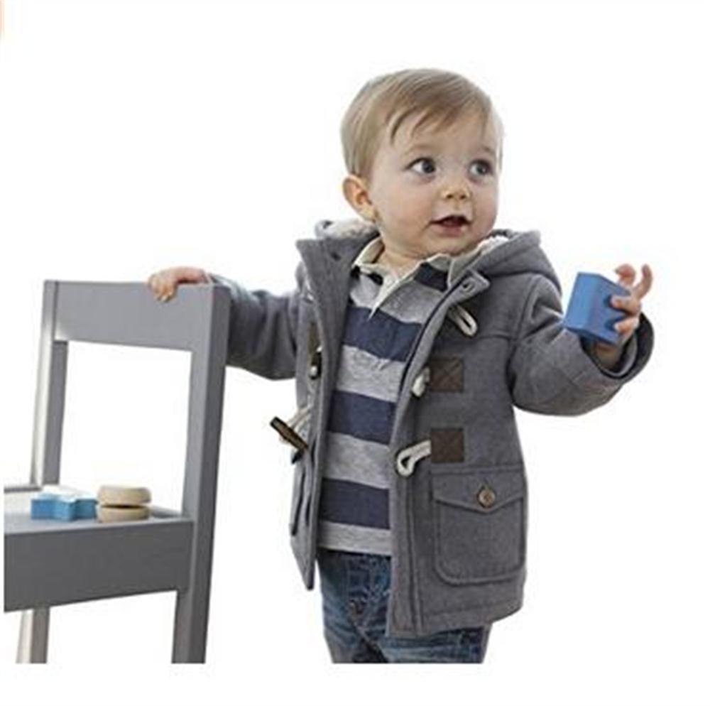 Lewego Unisex Baby Fleece Hooded Jacket Outerwear Duffle Zipper Winter Coat, Grey, 100cm(12-18Months) by Eshoono