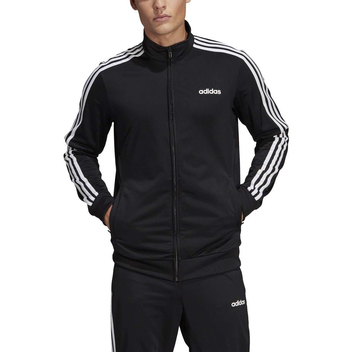 adidas Essentials Men's 3 Stripes Tricot Track Jacket, BlackWhite, LargeTall