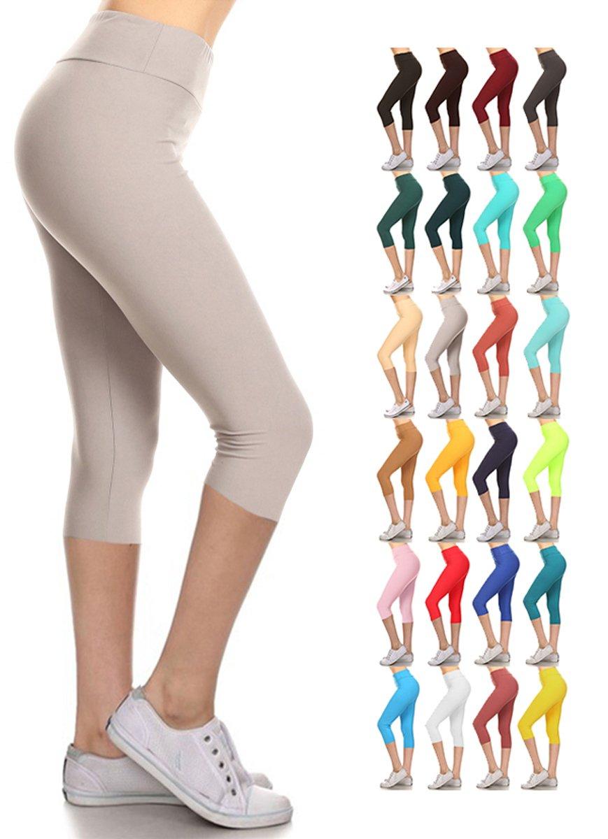 Leggings Depot Buttery Soft Women's Yoga Gym Workout Higher Waist Solid Capri Leggings Pants 22+ Colors (Light Grey, 3X5X Plus (Size 22W-32W))