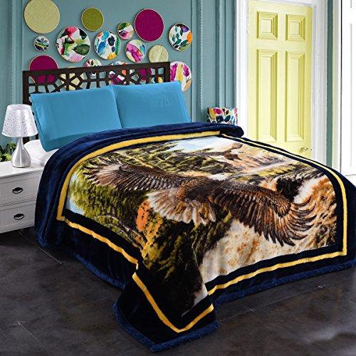 """JML 10 Pounds Heavy Plush Soft Blankets for Winter, Korean Style Mink Velvet Fleece Blanket - 2 Ply A&B Printed Raschel Bed Blanket 85"""" x 93"""" (Eagles)"""