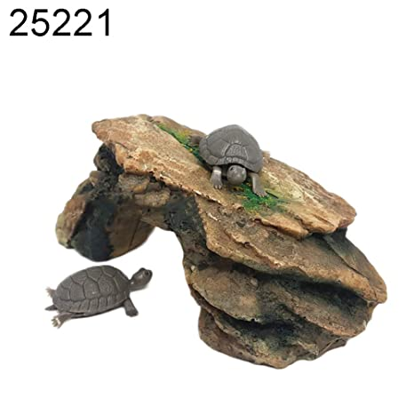 quanjucheer Tortuga Reptil Isla Base Basking Plataforma Acuario Pecera Simulación Rock no tóxico