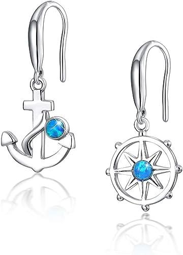 Dangling Earrings Sterling Silver 925 Earring Gift For Her Mom, Blue Fire Opal Anchor Dangling Earrings Engagement Earrings