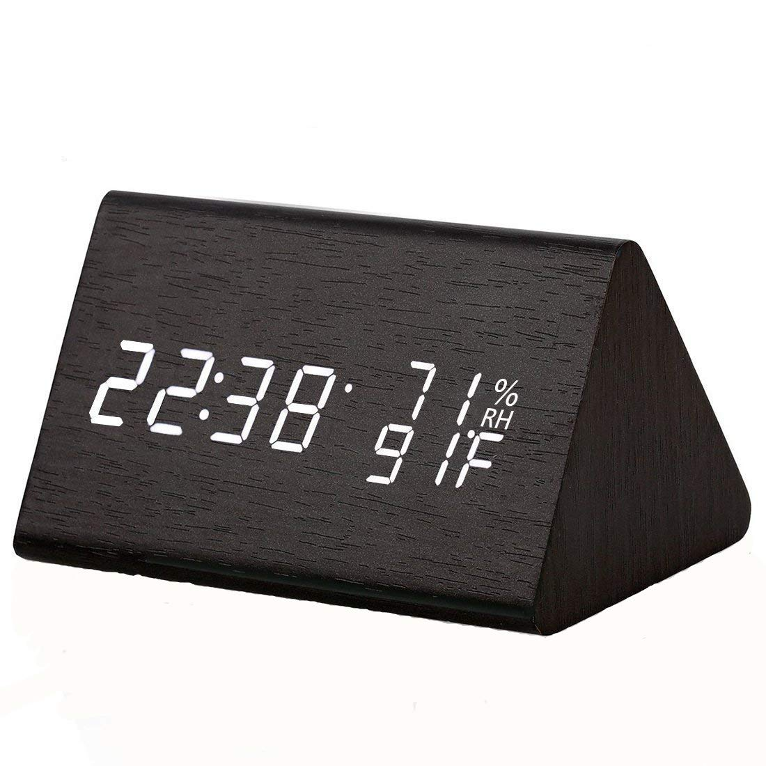 Digital Alarm Clock 3 Brightness Levels LED Light 3 Alarm Sets Voice Control System Dual Powered Wood Clock with Temperature and Humidity Detect for Home Bedroom Office Desk Travel Kids Heavy Sleepers