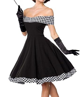 Schwarzes kurzes Swing Kleid im tiefem Schnitt mit Teilungsnaht und  Tellerrock weiß kariert und schulterfrei bandeau 433a1abcaa
