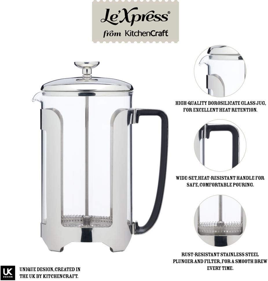 Cafetera en caja de regalo 350 ml Acero inoxidable y vidrio 3 Cup acero inoxidable y cristal KitchenCraft LeXpress Deluxe
