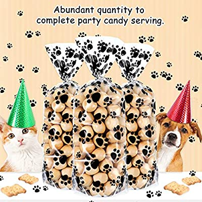 100 Pieces Pet Paw Print Plastic Cellophane Bags Wide Bottom Heat Sealable Treat Candy Bags Dog Cat Gift Bags with 100 Pieces Silver Twist Ties for Pet Treat Party Favor, 11 x 5 x 3 Inch: Toys & Games