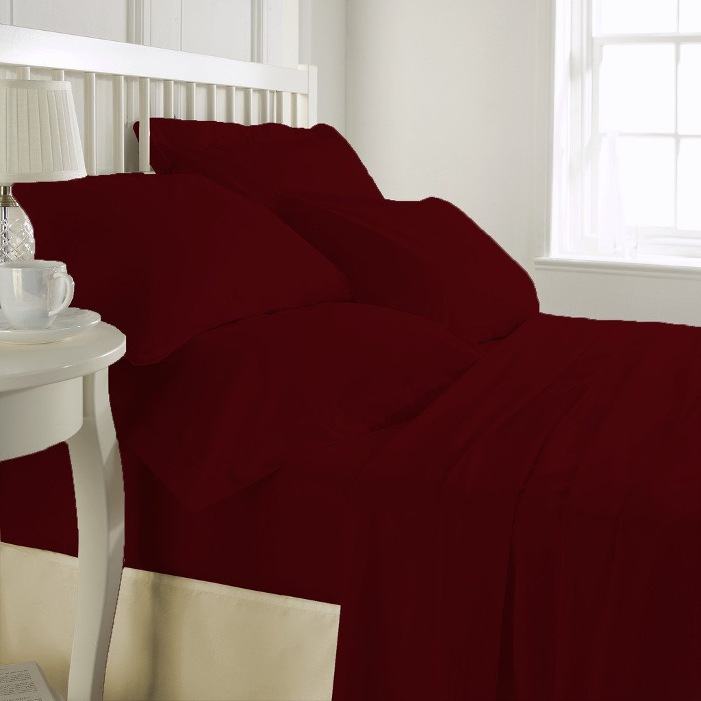 Bed Alter 300 Thread Count Luxurious 100% Egyptian Cotton Duvet Cover Maroon Twin (Duvet Cover Zipper Closure) Solid