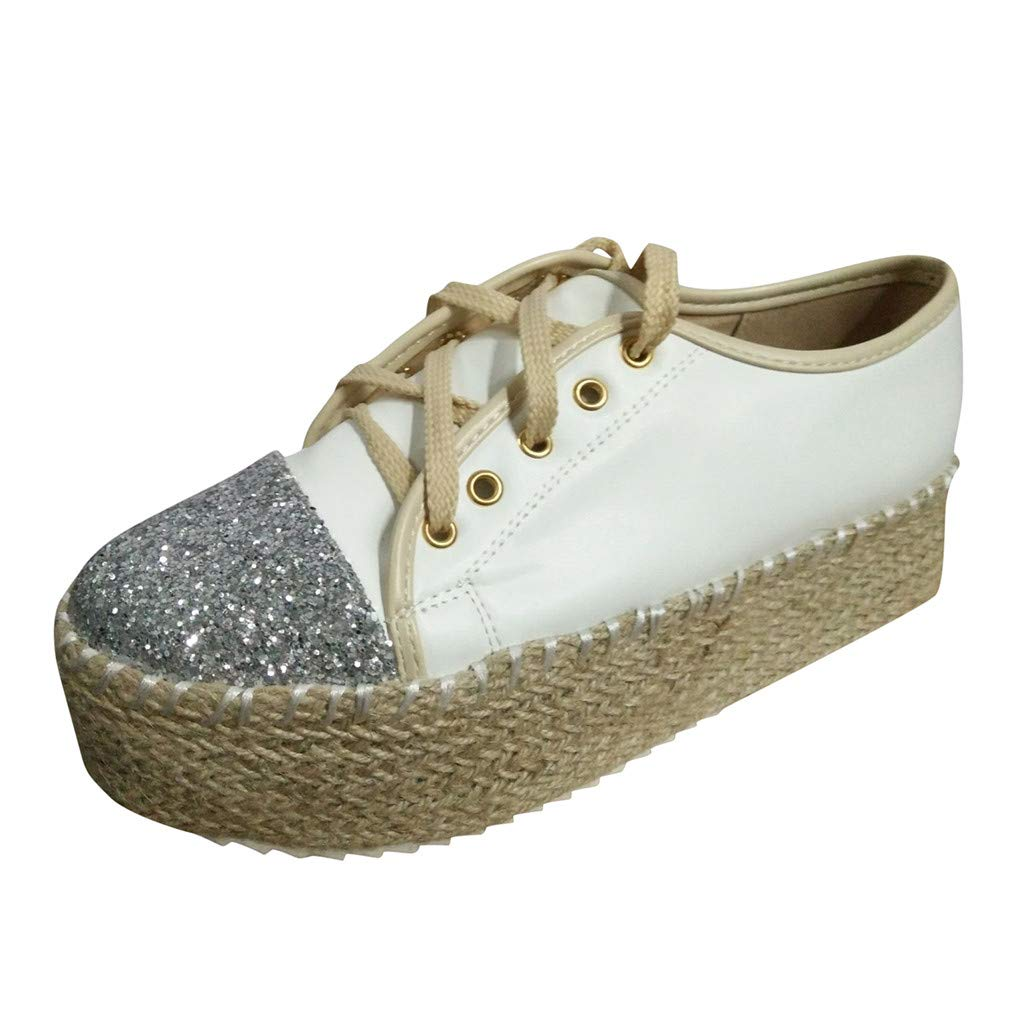 Lanhui Spring Autumn Canvas Sneakers New Large Size Glitter Toe Casual Shoes Female Muffin Bottom Hemp Rope Canvas Shoes by Lanhui