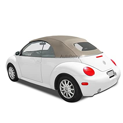 AutoBerry Compatible Replacement Convertible Top Heated Glass Window For VW For Volkswagen Beetle Power Tops 2003 2009 Tan Stayfast Cloth