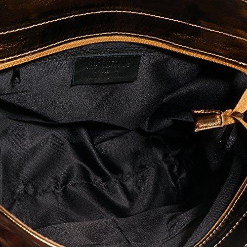 FIRENZE ARTEGIANI.Bolso shopping bag de mujer piel auténtica.Bolso cuero genuino metalizado.Bolso mujer fiesta. MADE IN ITALY. VERA PELLE ITALIANA. 36x31,5x14 cm. Color: DORADO