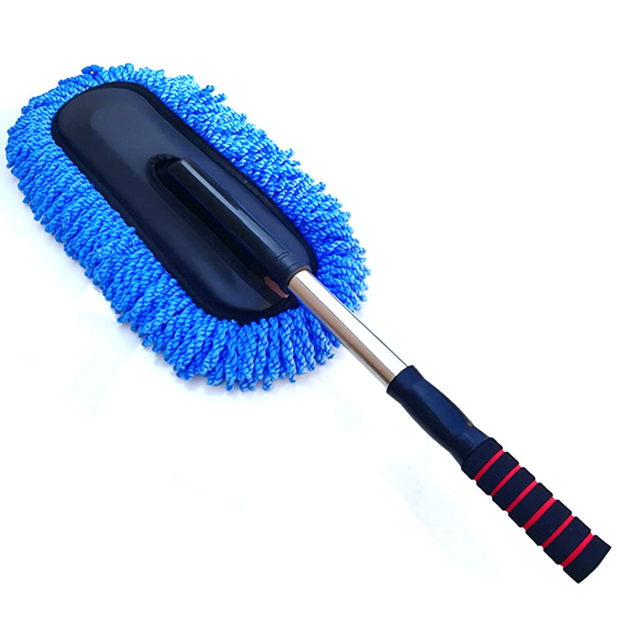 2TRIDENTS Anti Dust Car Wash Brush Car Washing Tool with Telescopic & Non Slip Handle for Vehicles House Cleaning for Glass Windows (Blue)