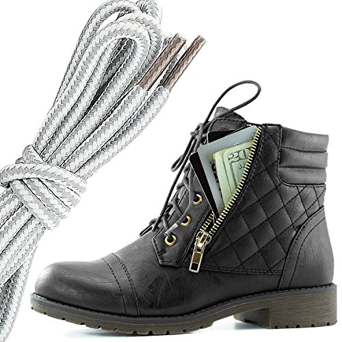 DailyShoes Womens Military Lace Up Buckle Combat Boots Ankle High Exclusive Credit Card Pocket, Grey White Black Pu
