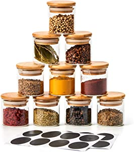 EZOWare 10 Bottles Glass Jar Set, Extra Small Air Tight Canister Storage Containers with Natural Bamboo Lids and Chalkboard Labels for Kitchen Spices, Bathroom, Party Favors (70ML)