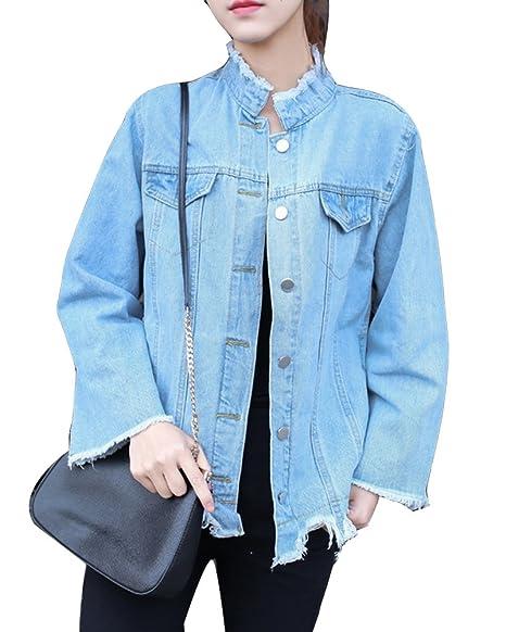 3c83e7acf916c2 Donna Boyfriend Giubbotto Giacca di Jeans Larga Giacchetta Vintage  Giacchetti Jeans Corti Azzurro S