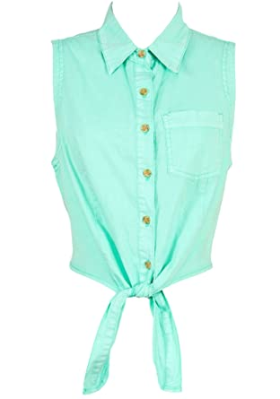 66388da31 Sidecca Women's Chambray Knot Tie Front Sleeveless Button Down Crop Top  Blouse