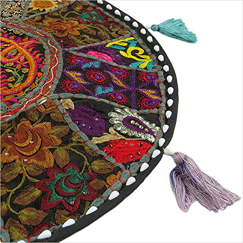 "17"" BLACK ROUND FLOOR PILLOW CUSHION COVER SEATING TAPESTRY Ethnic Indian Art"