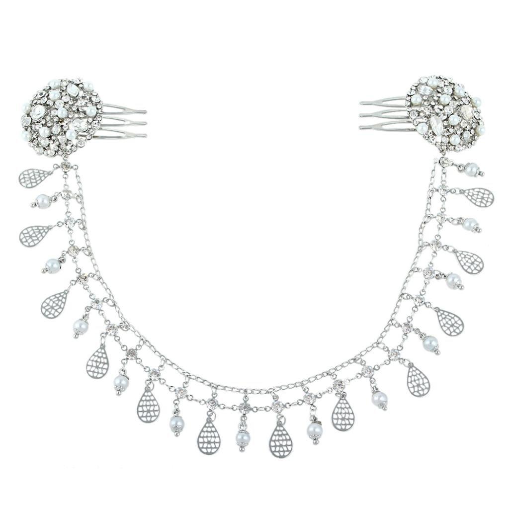 Ever Faith Crystal Simulated Pearl Boho Style Double Chain Hair Comb Ivory Color N04396-2