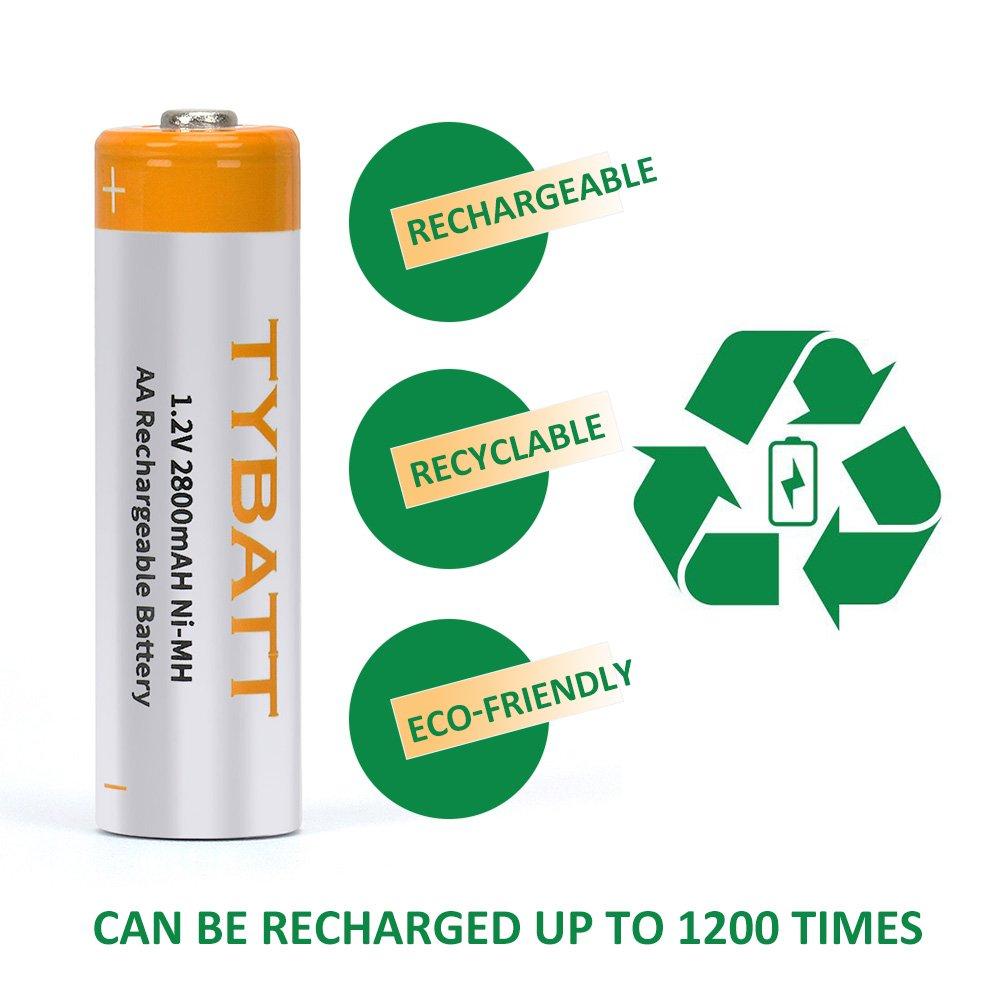 TYBATT Batteria Ricaricabili AAA NI-MH Mini Stilo Ricaricabile Batteria 1100mAh 1200 Cicli Confezione da 8 Pezzi