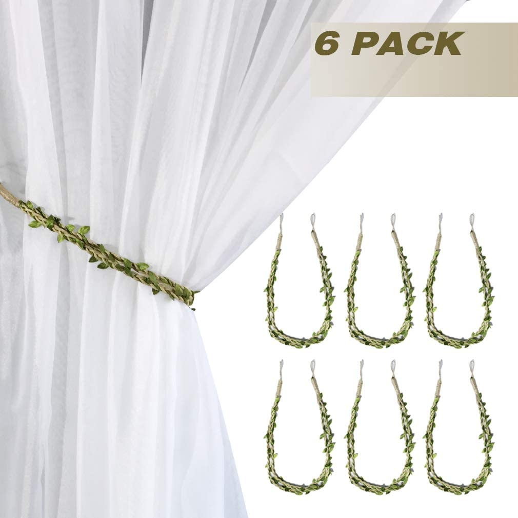 Valea Home Curtain Tiebacks Ropes Natural Burlap Rope Holdbacks with Artificial Vines Fake Foliage Ivy Leaf for Rustic Wedding Party Home Decorative Curtain Holders Set of 2