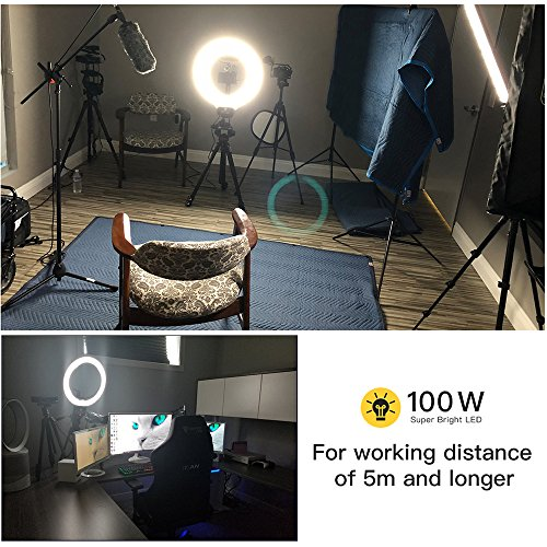 Ring Light, ESDDI 18inch 100W LED Dimmable Ring Light, Adjustable Color Temperature 3200K-5800K, Stand Phone Holder, Hot Shoe Adapter for Portrait YouTube Video, Vlog and Makeup
