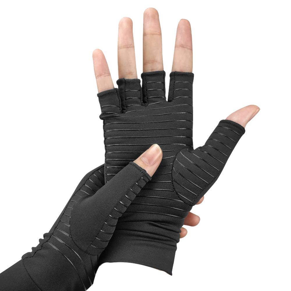 Copper Infused Compression Arthritis Gloves for Men & Women,Fingerless Carpal Tunnel Gloves for Relieve Pains & Computer Typing L