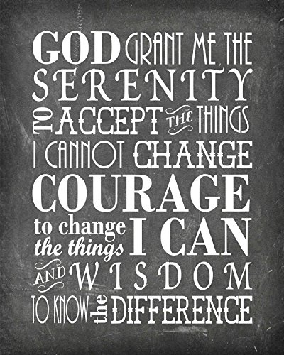 Simply Remarkable Serenity Prayer - Poster Print Photo Quality - Inspirational Wall Art for Alcoholics Anonymous, AA, Narcotics Anonymous, NA - Made in USA (8x10, Prayer 2 - Chalk)