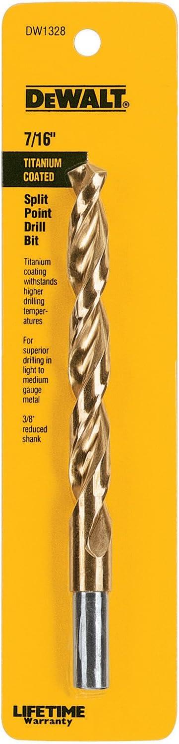 DEWALT DW1128 7//16-Inch Black Oxide 3//8-Inch Reduced Shank Split Point Twist Drill Bit