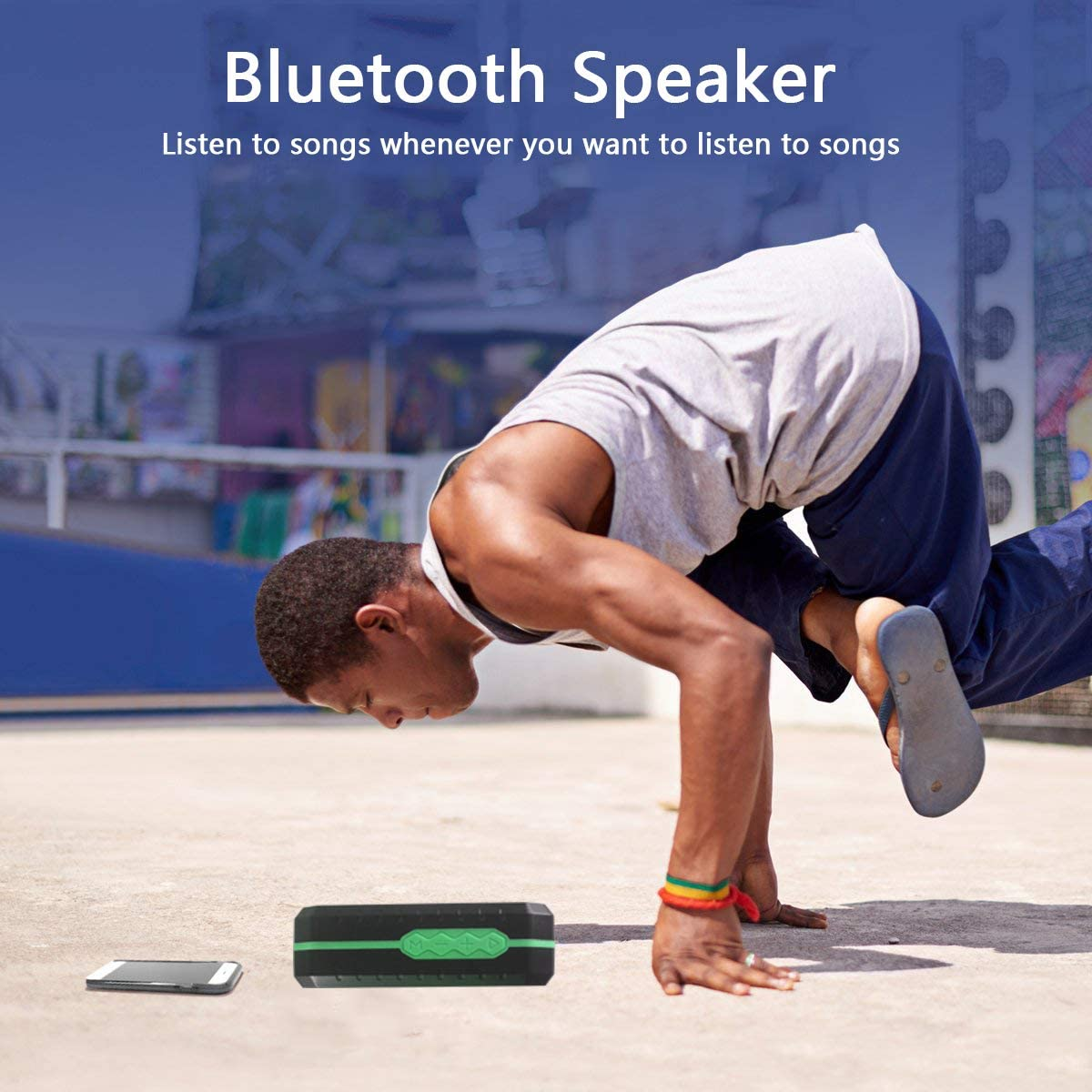 Wireless Bluetooth Speakers, IP65 Certification,Portable Waterproof Outdoor Speakers Bluetooth 5.0 for Softphone and Mobile Phone,Louder Volume, Crystal Clear Stereo Sound, Rich Bass(Green)