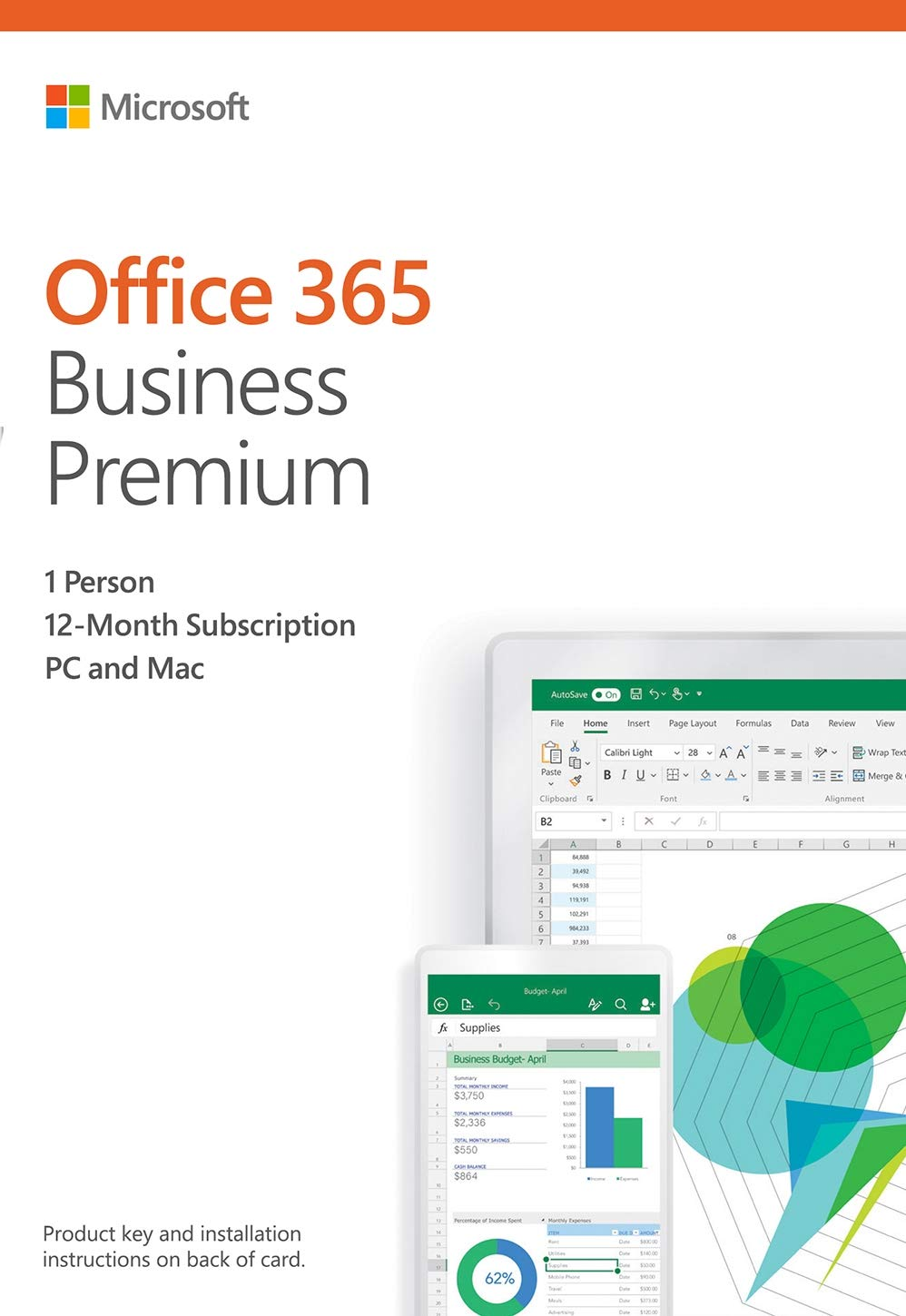 Microsoft Office 365 Business Premium | 12-month subscription, 1 person,  PC/Mac Activation Card by Mail