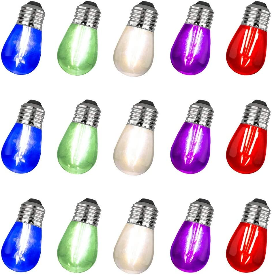 Pack of 15pcs LED S14 Light Bulbs for String Lights -5 Colors E26 Medium Candelabra Screw Base E26 Warm Replacement Clear Glass Bulbs for Commercial Grade Outdoor Patio Garden Vintage String Lights