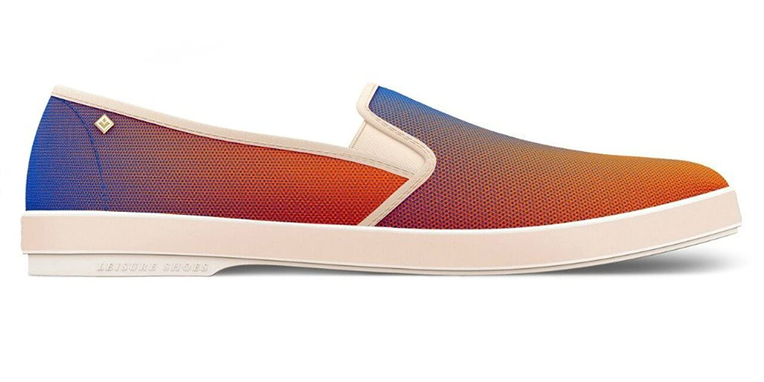 Men's Print Radial Orange Blue Cotton Slip On Loafer