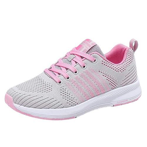 Beladla Mujer Zapatillas De Deporte CuñA Zapatos para Correr Plataforma Sneakers con Cordones Calzado De Malla Air TacóN Ligero Zapatillas De Correr: ...