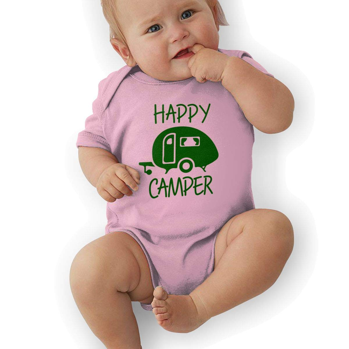 Funny Cartoon Happy Campers Newborn Baby Short Sleeve Romper Infant Summer Clothing