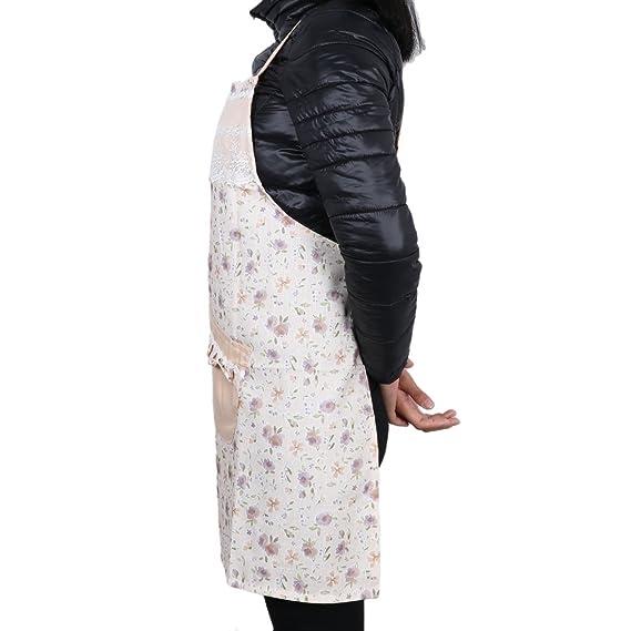 Amazon.com: Bolsillos frontales eDealMax floral de cocina barbacoa cocinero delantal de la luz ámbar: Kitchen & Dining
