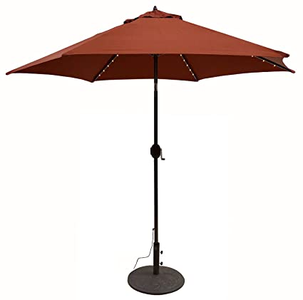 Tropishade Tropilight LED Lighted 9 ft Bronze Aluminum Market Umbrella with  Rust Polyester Cover - Amazon.com : Tropishade Tropilight LED Lighted 9 Ft Bronze Aluminum